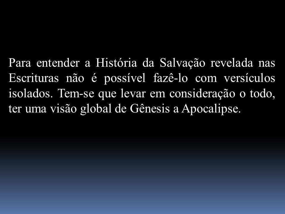 Para entender a História da Salvação revelada nas Escrituras não é possível fazê-lo com versículos isolados.