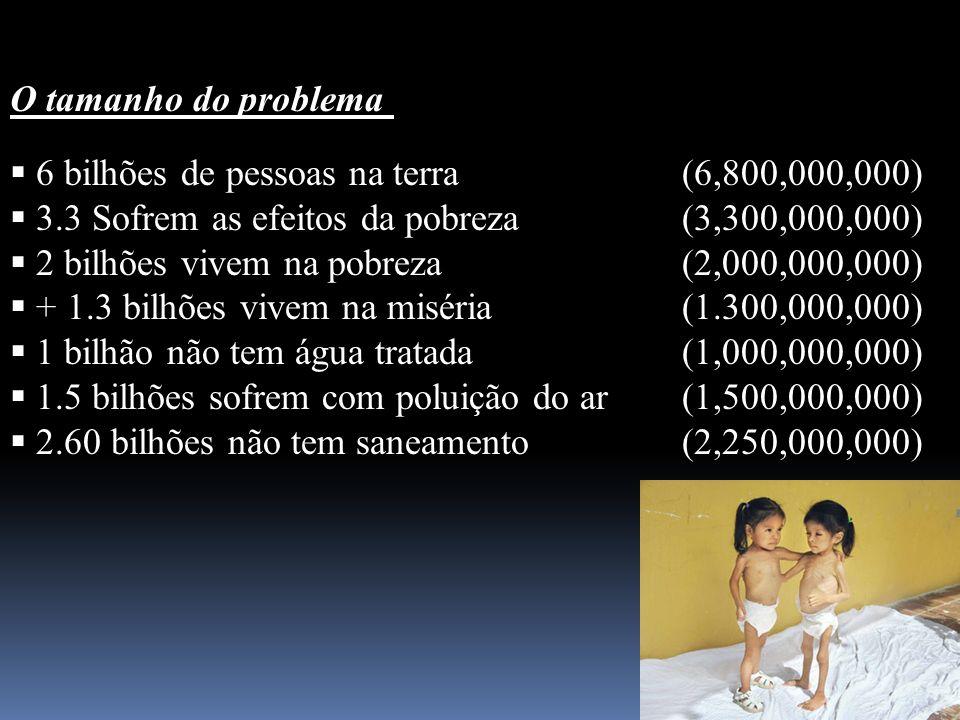 O tamanho do problema 6 bilhões de pessoas na terra (6,800,000,000) 3.3 Sofrem as efeitos da pobreza (3,300,000,000)