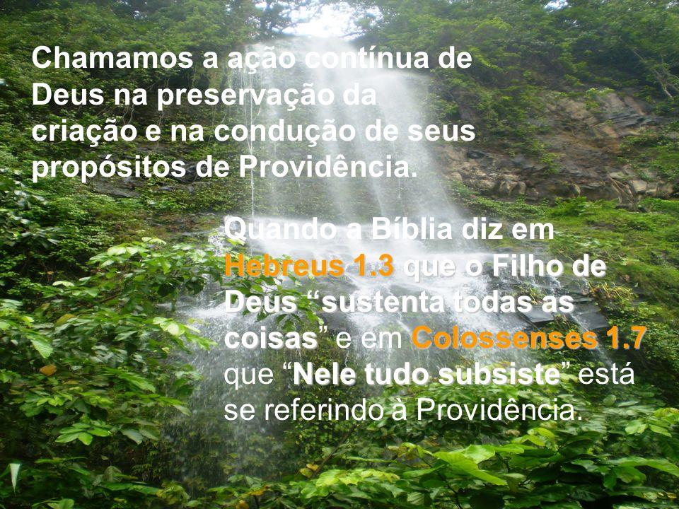 Chamamos a ação contínua de Deus na preservação da criação e na condução de seus propósitos de Providência.