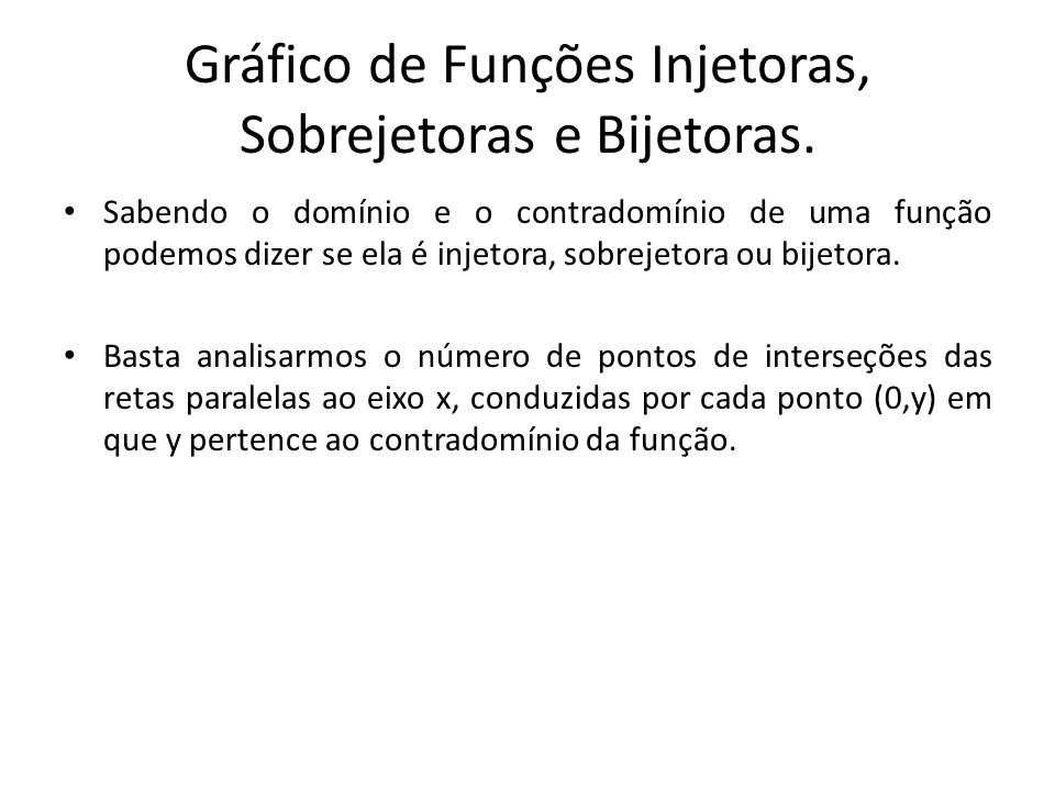 Gráfico de Funções Injetoras, Sobrejetoras e Bijetoras.