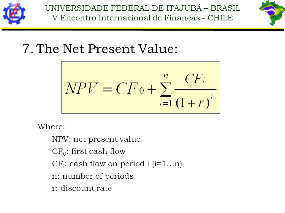 The Net Present Value: Where: NPV: net present value