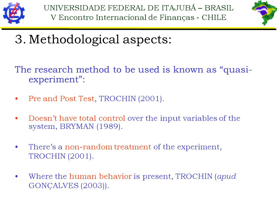 Methodological aspects: