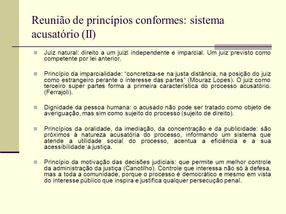 Reunião de princípios conformes: sistema acusatório (II)