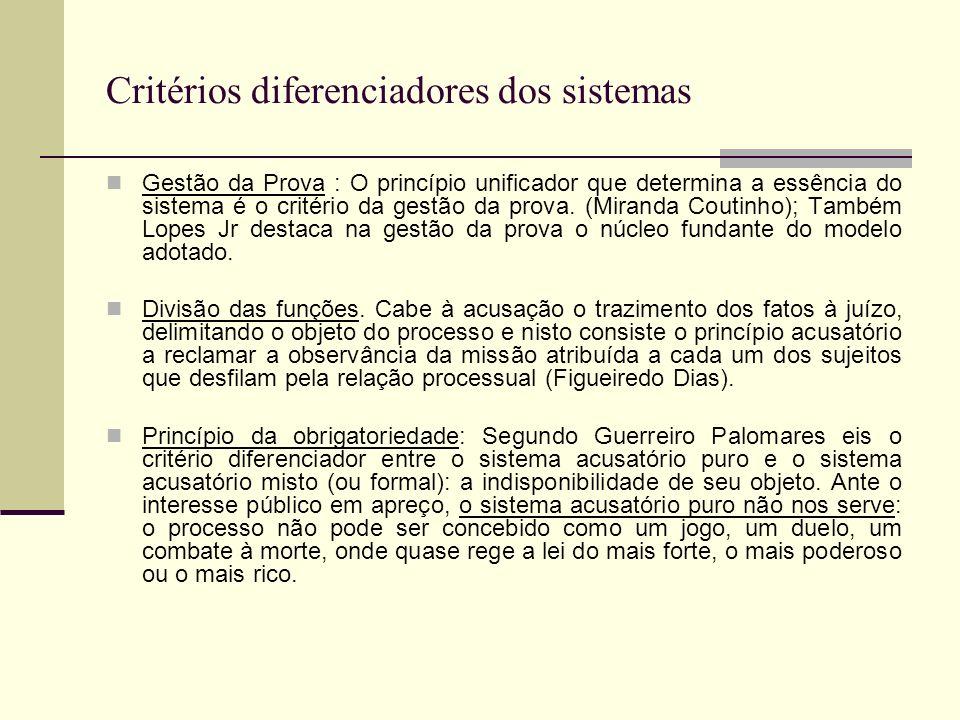 Critérios diferenciadores dos sistemas
