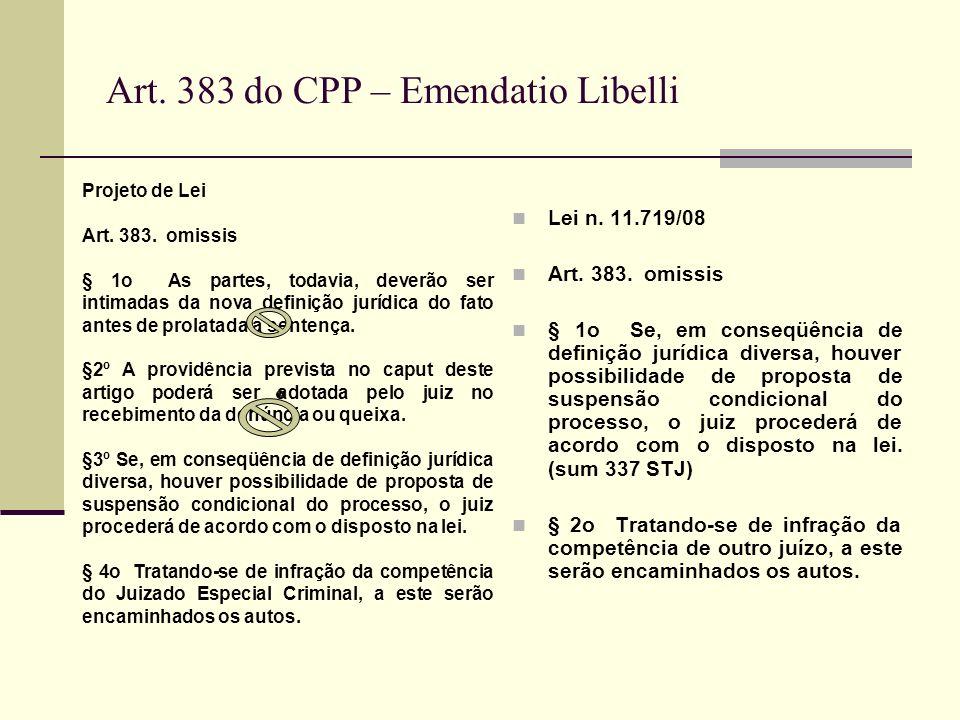 Art. 383 do CPP – Emendatio Libelli
