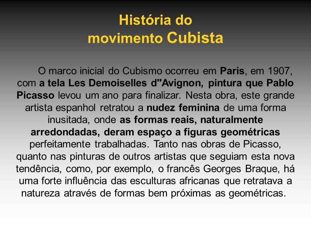 História do movimento Cubista
