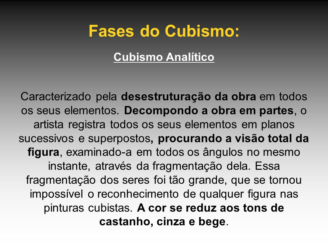 Fases do Cubismo: Cubismo Analítico