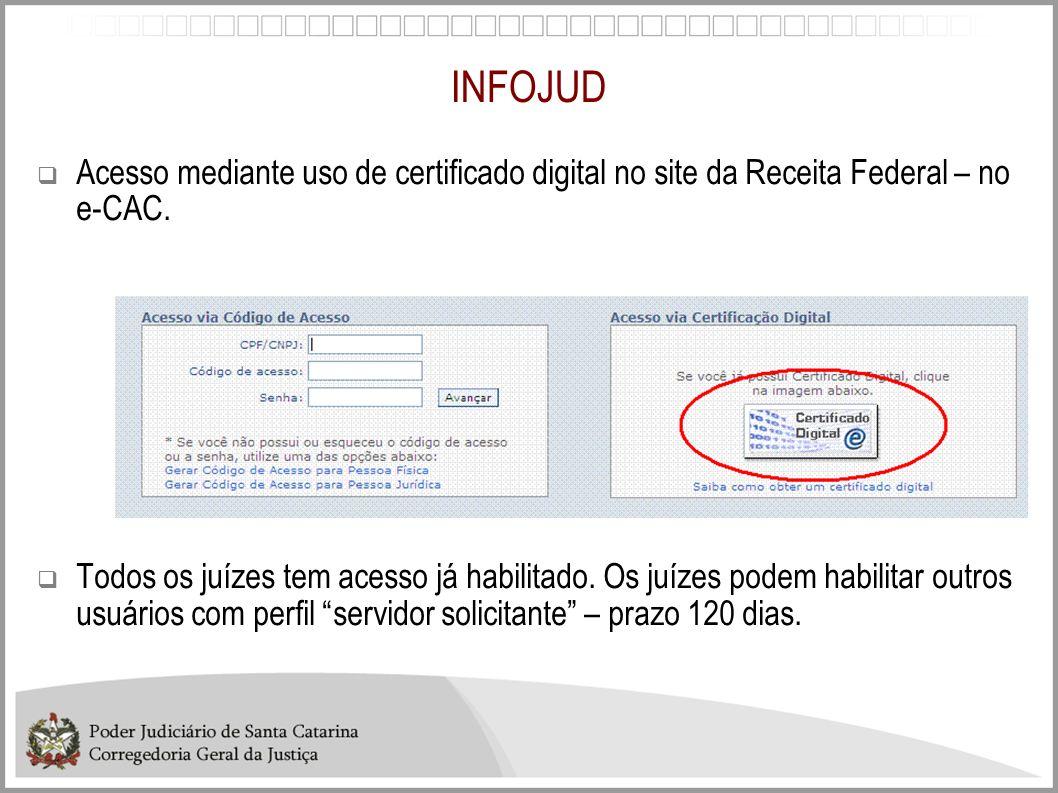 INFOJUD Acesso mediante uso de certificado digital no site da Receita Federal – no e-CAC.