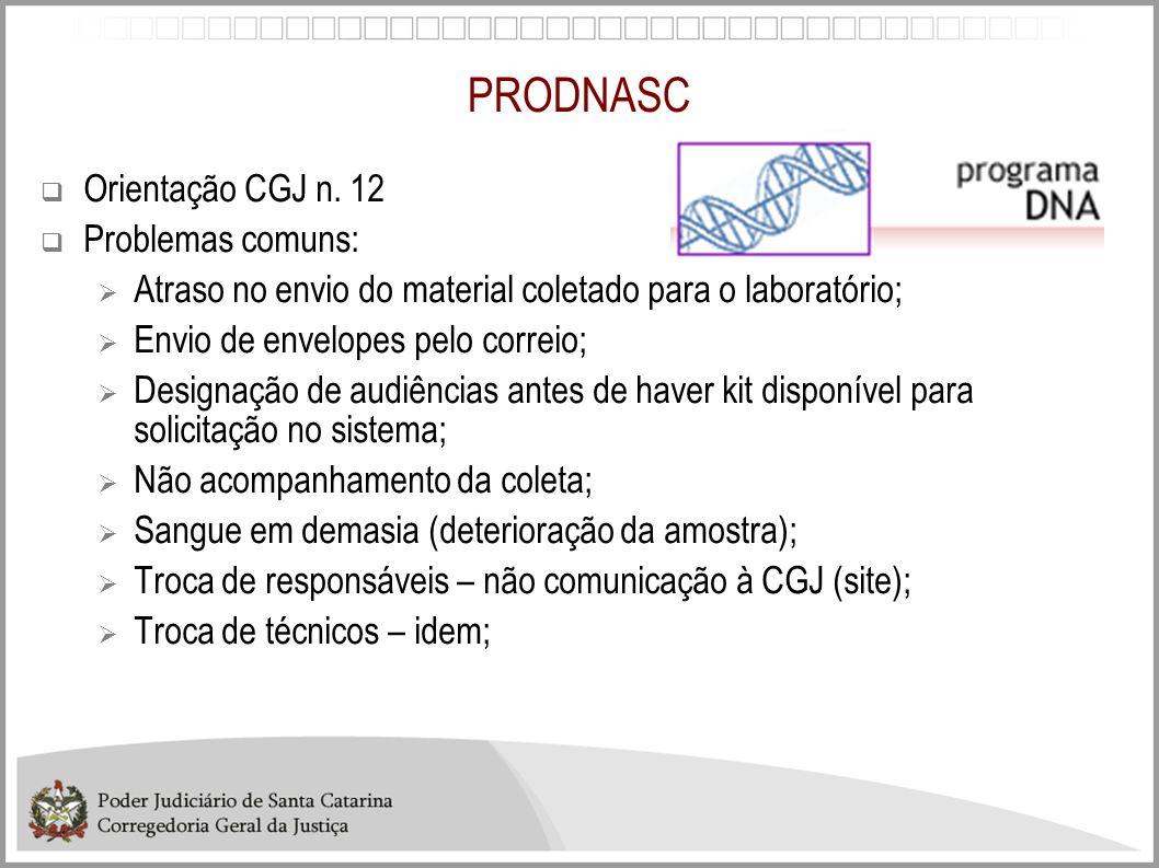 PRODNASC Orientação CGJ n. 12 Problemas comuns: