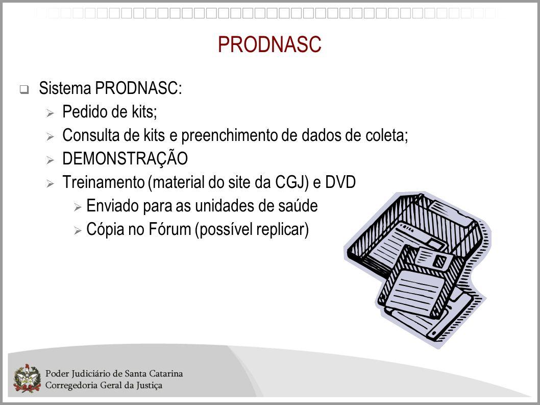 PRODNASC Sistema PRODNASC: Pedido de kits;