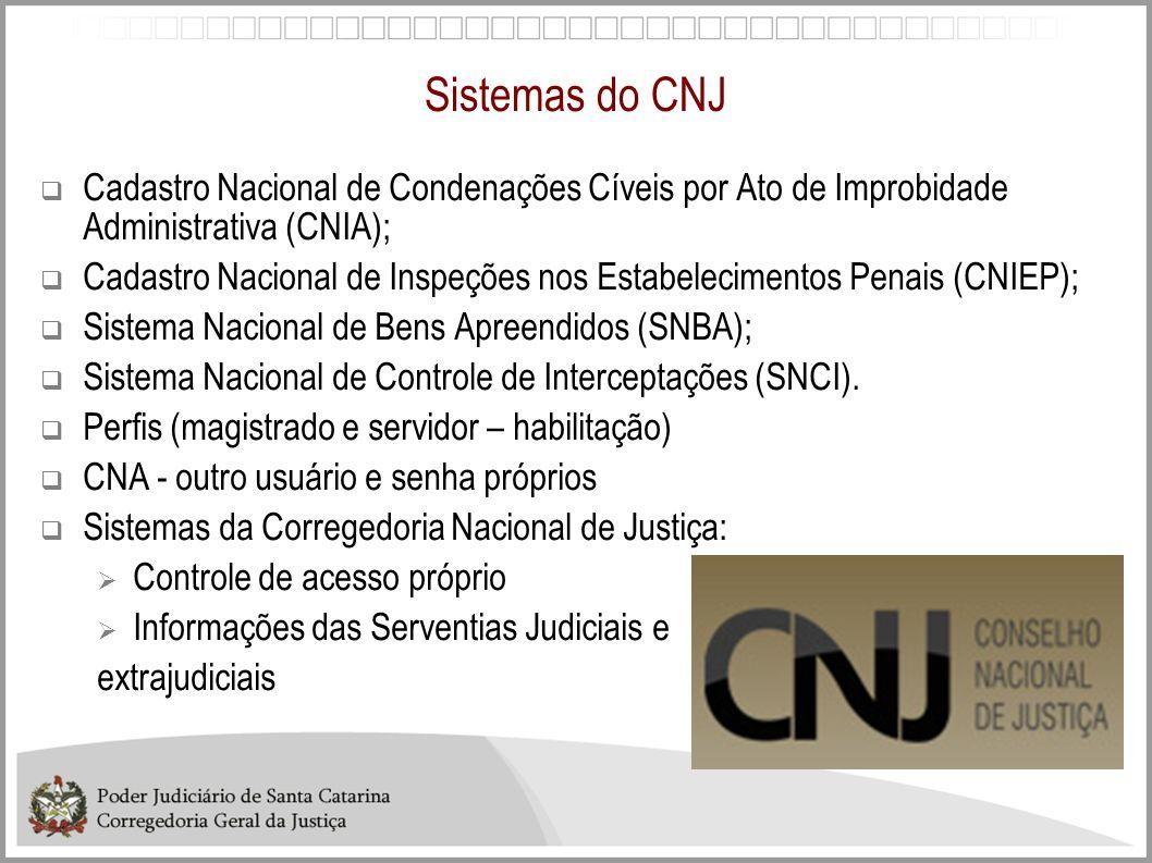 Sistemas do CNJCadastro Nacional de Condenações Cíveis por Ato de Improbidade Administrativa (CNIA);