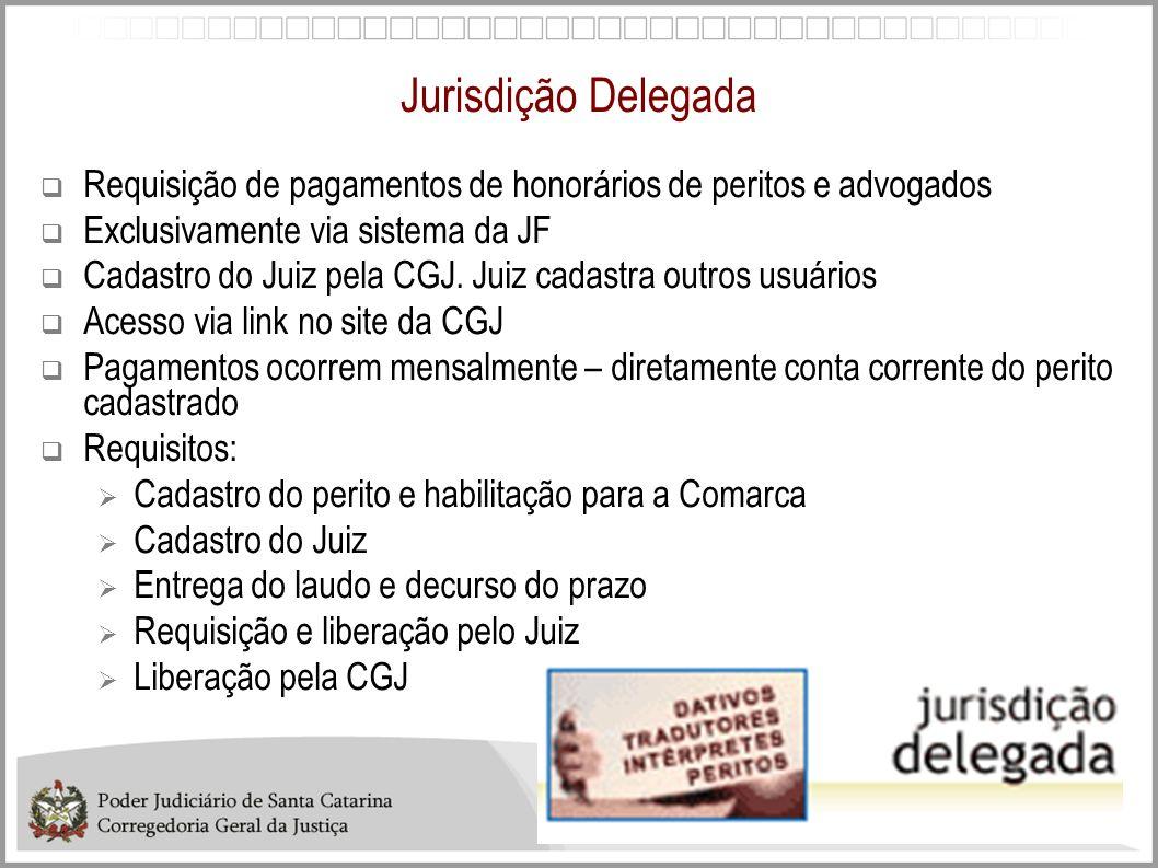 Jurisdição Delegada Requisição de pagamentos de honorários de peritos e advogados. Exclusivamente via sistema da JF.
