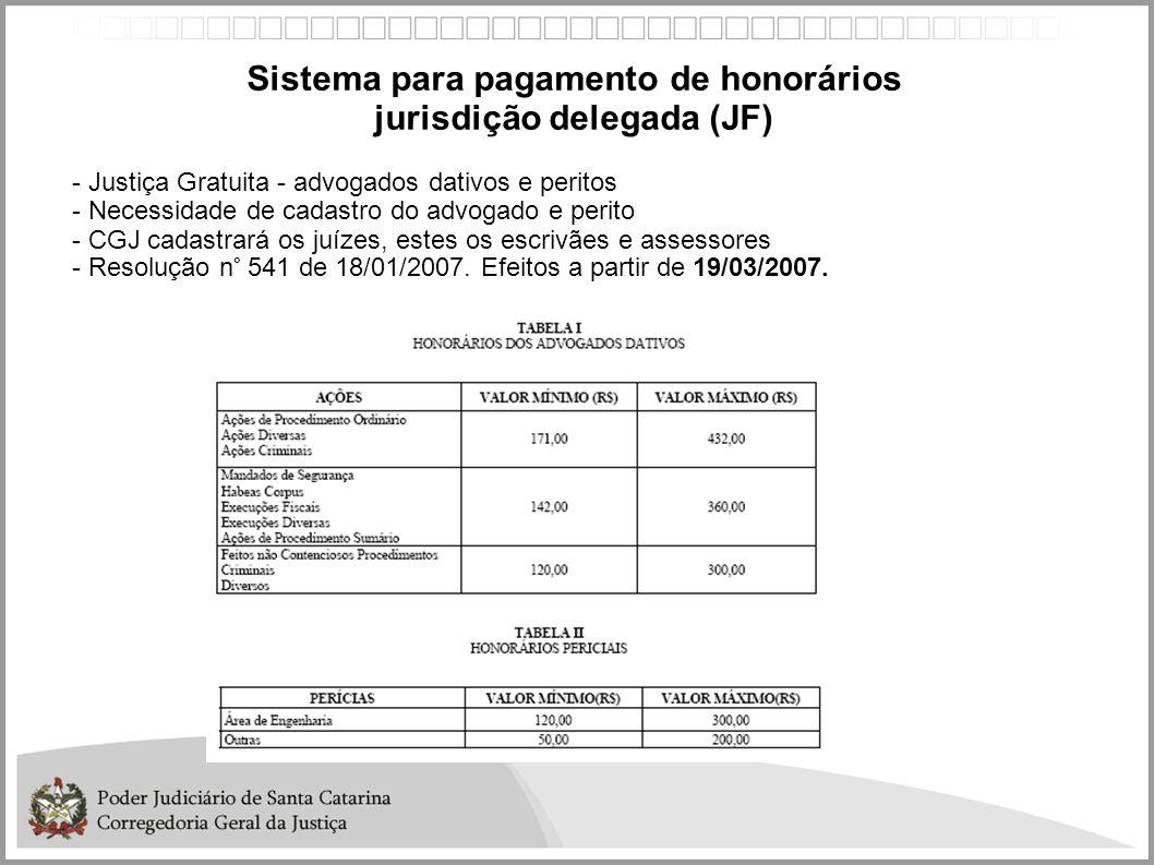 Sistema para pagamento de honorários jurisdição delegada (JF)