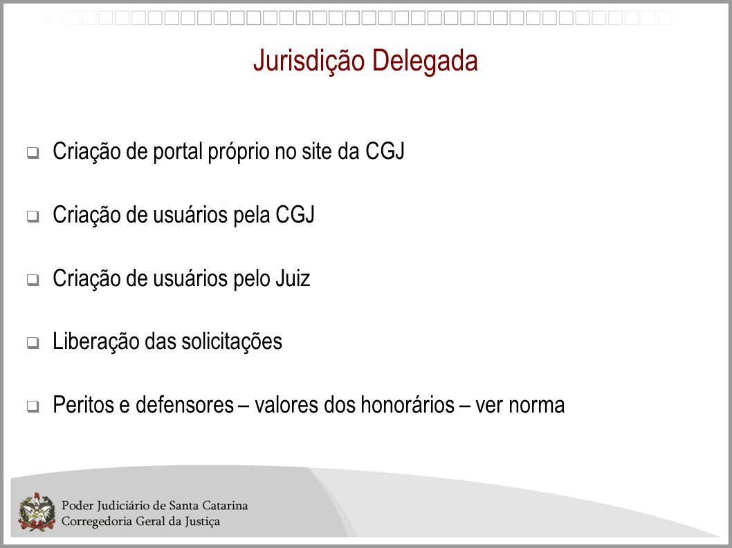 Jurisdição Delegada Criação de portal próprio no site da CGJ