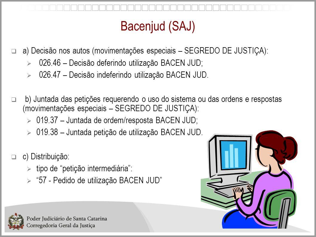 Bacenjud (SAJ)a) Decisão nos autos (movimentações especiais – SEGREDO DE JUSTIÇA): 026.46 – Decisão deferindo utilização BACEN JUD;