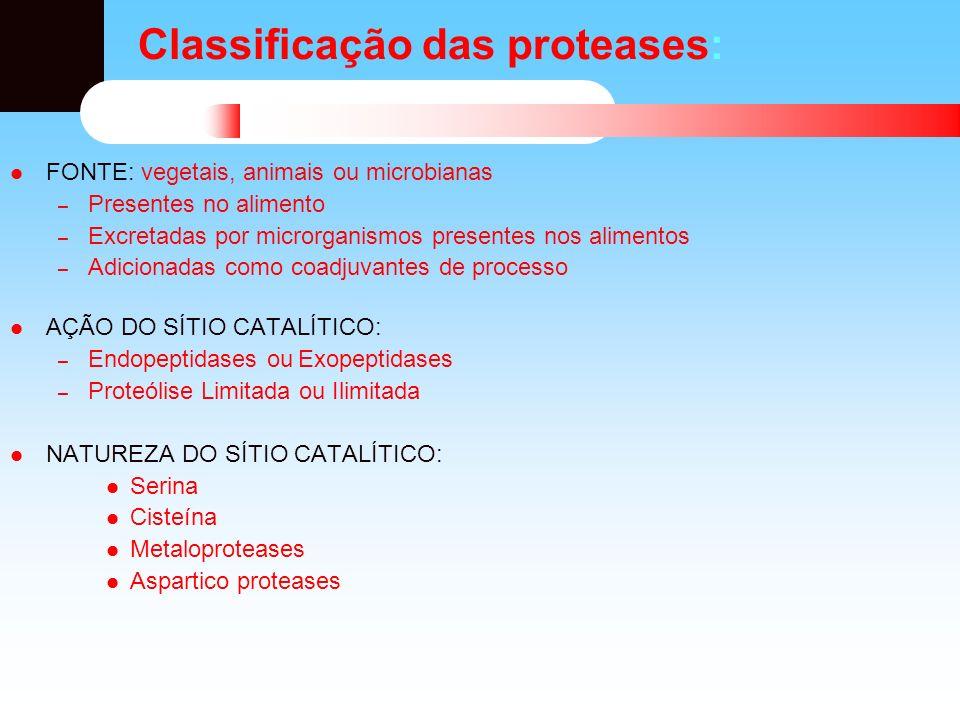 Classificação das proteases: