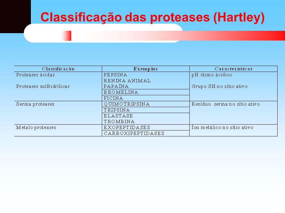 Classificação das proteases (Hartley)