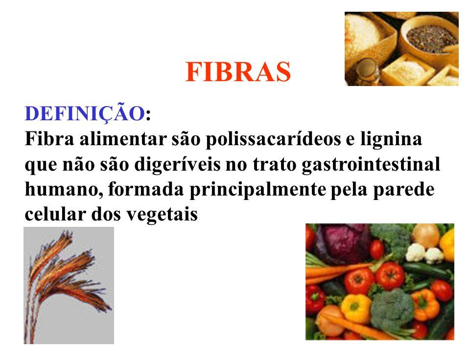FIBRAS DEFINIÇÃO: Fibra alimentar são polissacarídeos e lignina