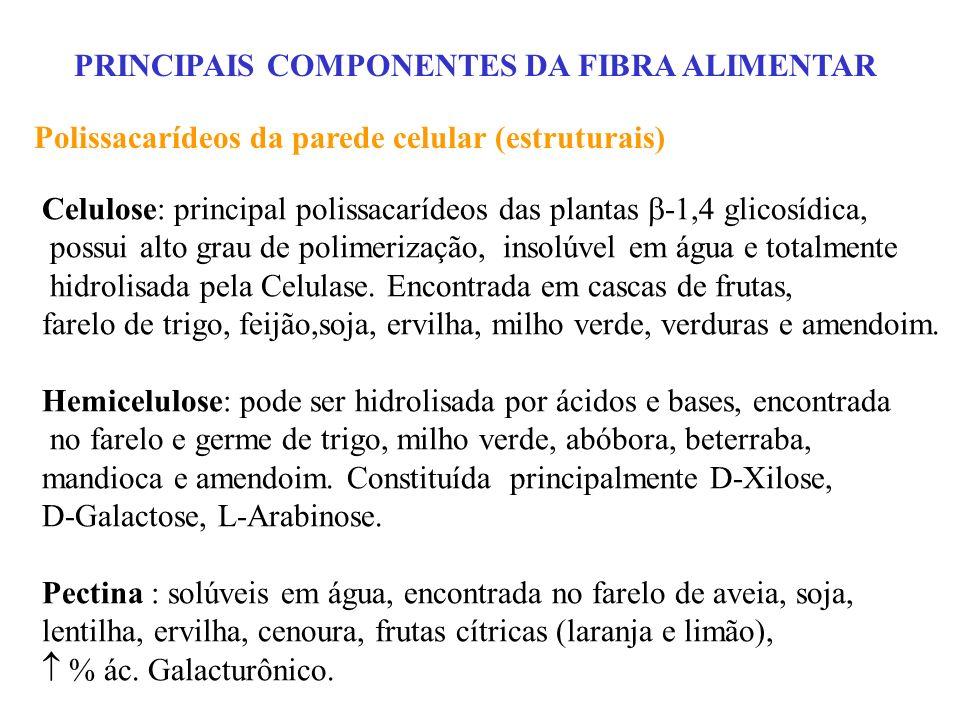 PRINCIPAIS COMPONENTES DA FIBRA ALIMENTAR