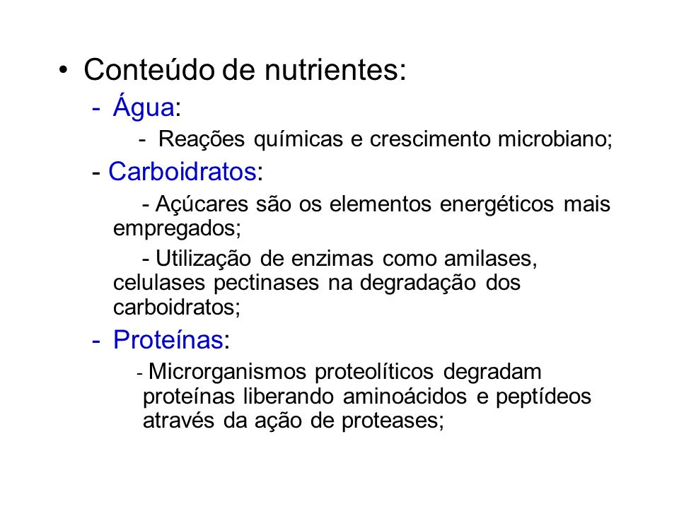 Conteúdo de nutrientes: