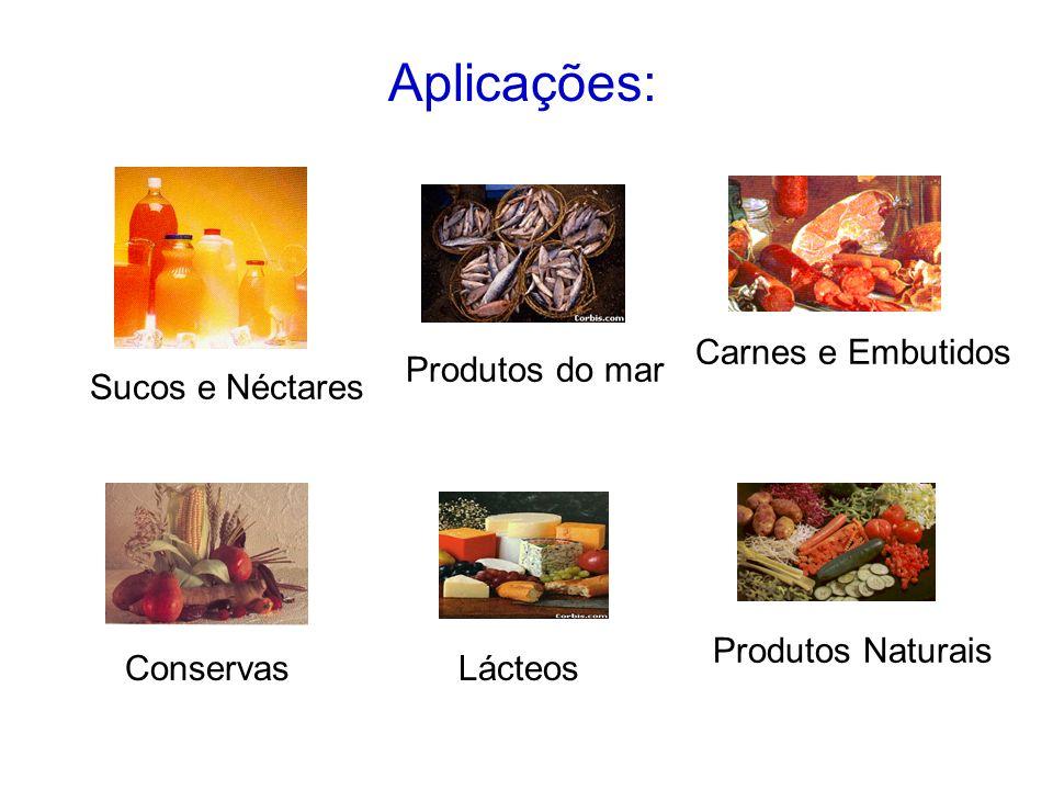 Aplicações: Carnes e Embutidos Produtos do mar Sucos e Néctares