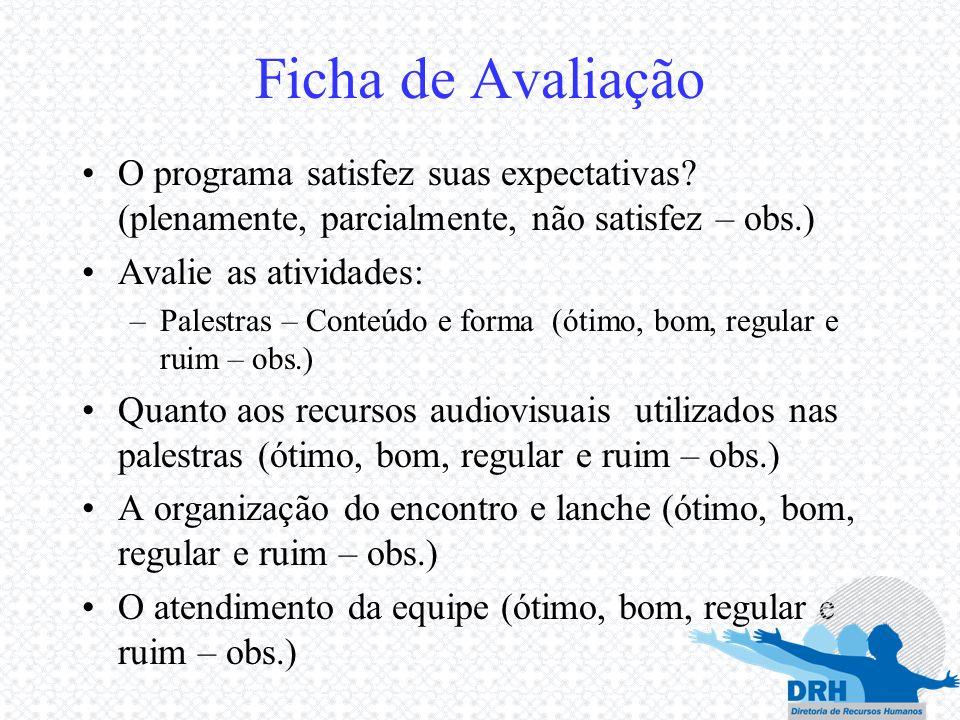 Ficha de Avaliação O programa satisfez suas expectativas (plenamente, parcialmente, não satisfez – obs.)