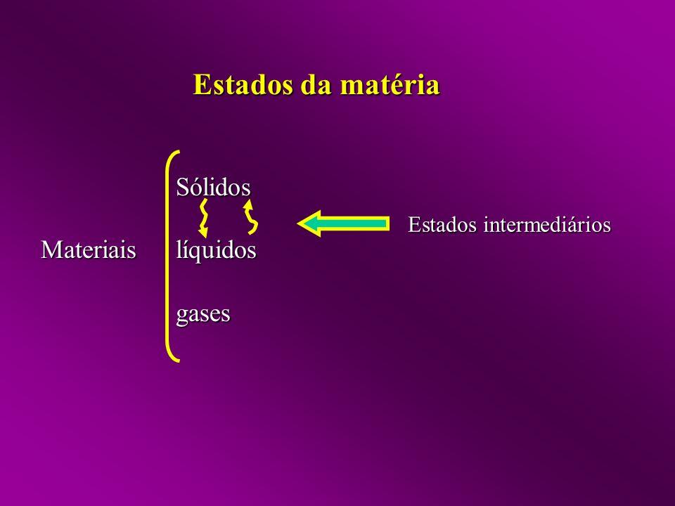 Estados da matéria Sólidos Materiais líquidos gases
