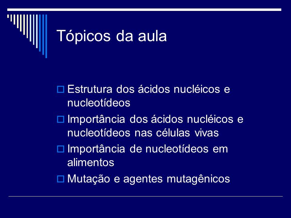 Tópicos da aula Estrutura dos ácidos nucléicos e nucleotídeos