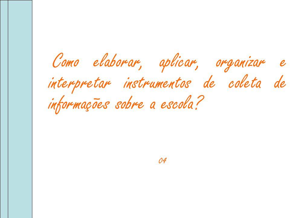 Como elaborar, aplicar, organizar e interpretar instrumentos de coleta de informações sobre a escola