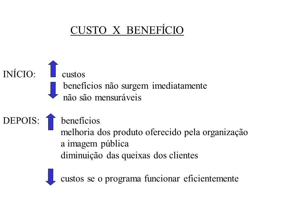 CUSTO X BENEFÍCIO INÍCIO: custos benefícios não surgem imediatamente
