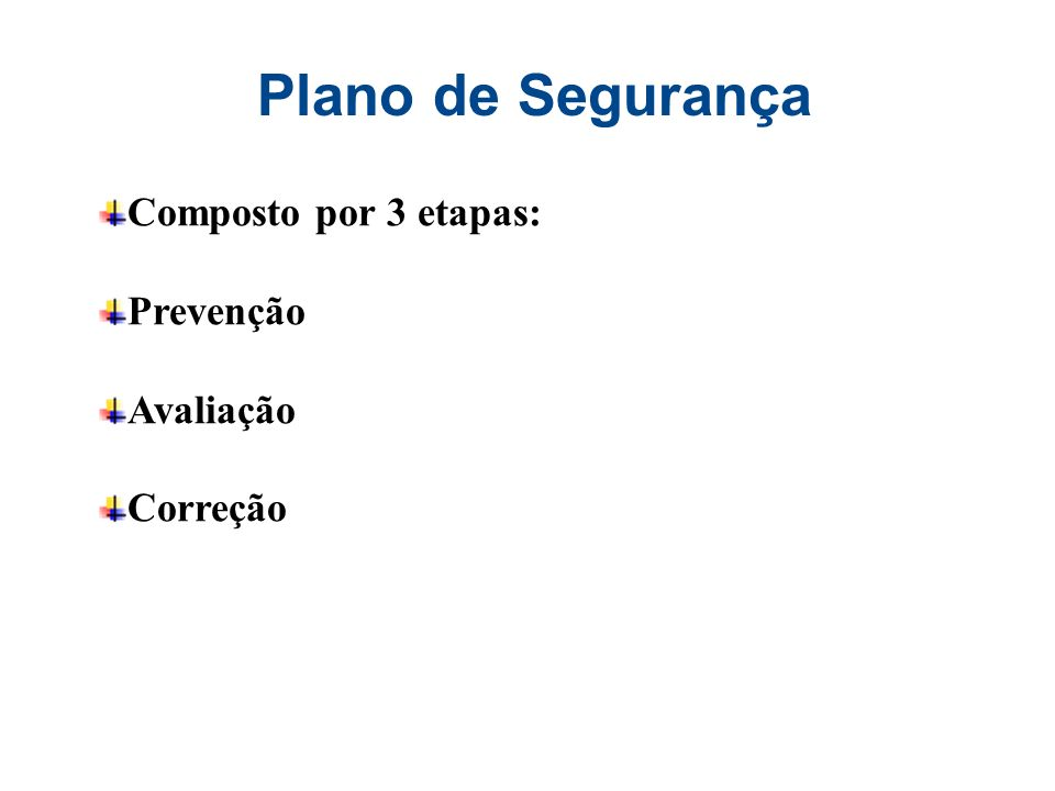 Plano de Segurança Composto por 3 etapas: Prevenção Avaliação Correção