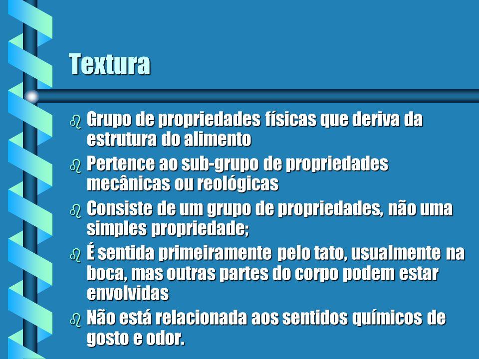 Textura Grupo de propriedades físicas que deriva da estrutura do alimento. Pertence ao sub-grupo de propriedades mecânicas ou reológicas.