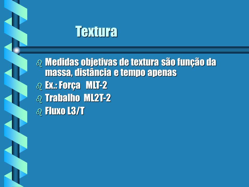 Textura Medidas objetivas de textura são função da massa, distância e tempo apenas. Ex.: Força MLT-2.