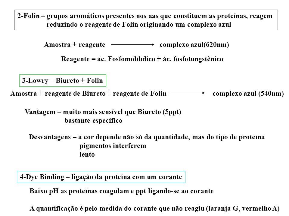 Amostra + reagente complexo azul(620nm) 3-Lowry – Biureto + Folin