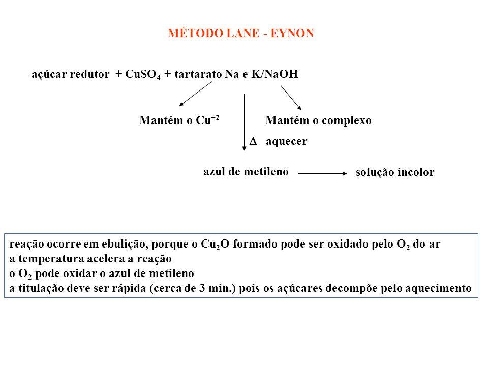MÉTODO LANE - EYNON açúcar redutor + CuSO4 + tartarato Na e K/NaOH. Mantém o Cu+2. Mantém o complexo.