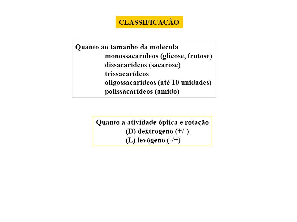 CLASSIFICAÇÃO Quanto ao tamanho da molécula. monossacarídeos (glicose, frutose) dissacarídeos (sacarose)