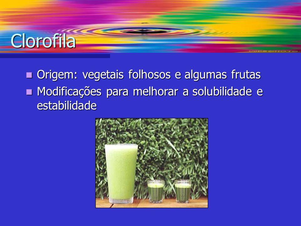 Clorofila Origem: vegetais folhosos e algumas frutas