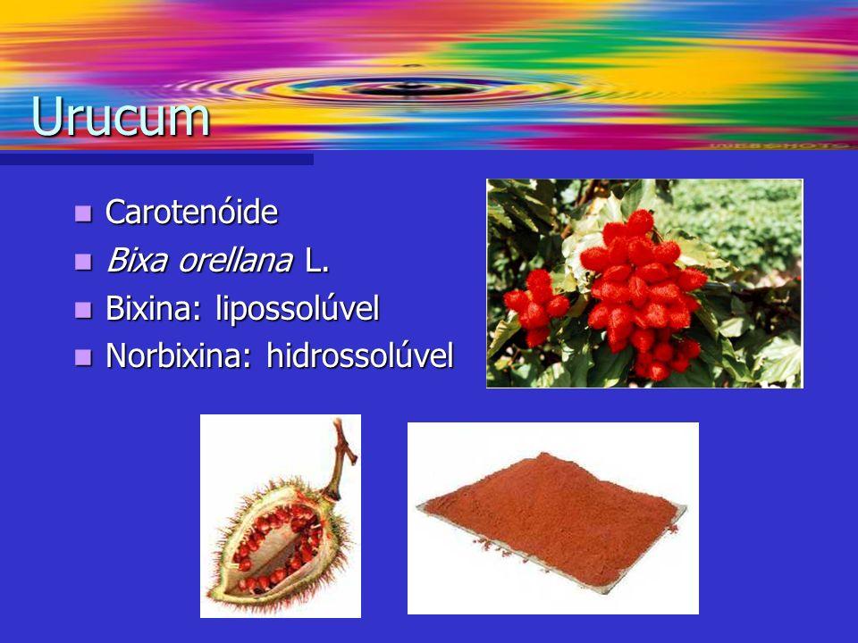 Urucum Carotenóide Bixa orellana L. Bixina: lipossolúvel