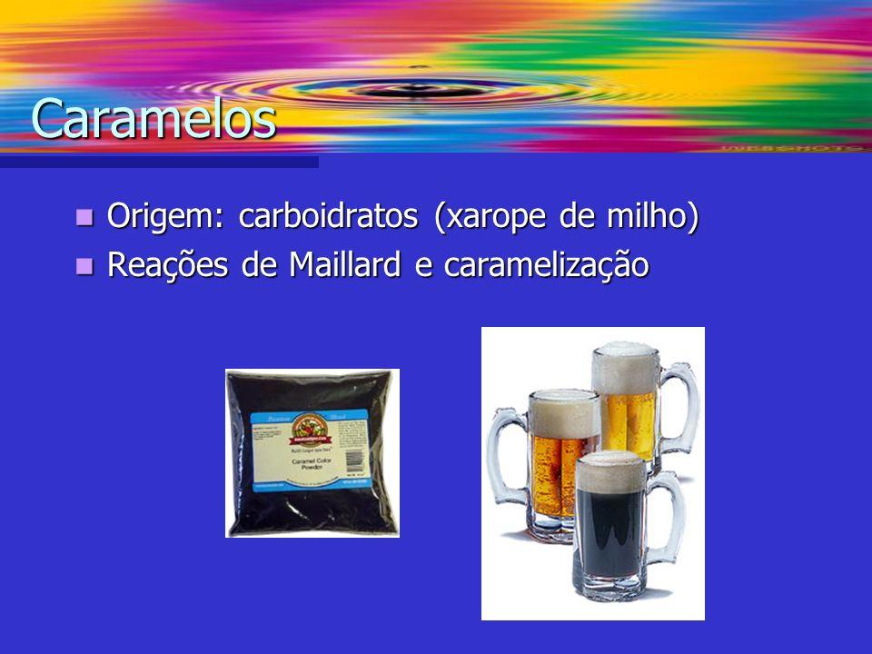 Caramelos Origem: carboidratos (xarope de milho)
