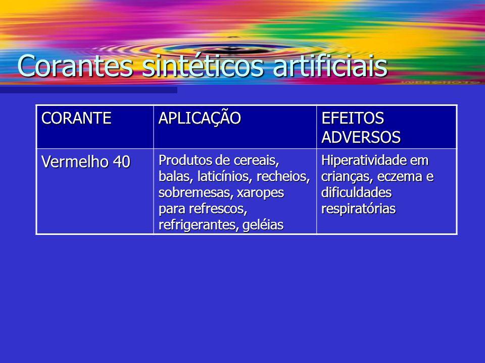 Corantes sintéticos artificiais