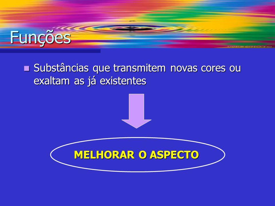 Funções Substâncias que transmitem novas cores ou exaltam as já existentes MELHORAR O ASPECTO