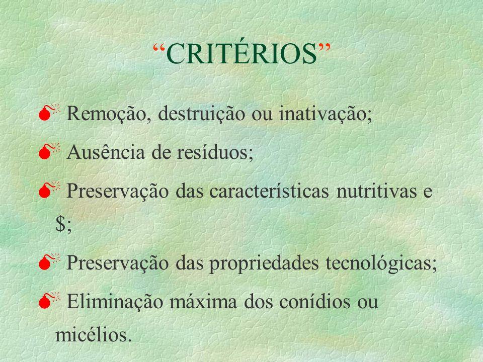 CRITÉRIOS Remoção, destruição ou inativação; Ausência de resíduos;