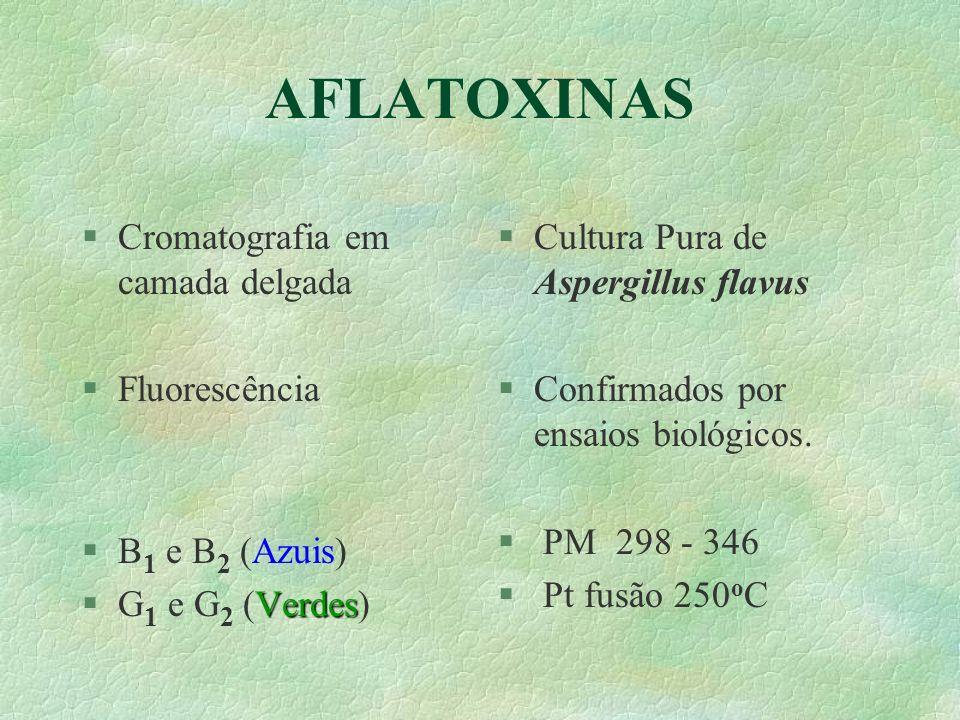 AFLATOXINAS Cromatografia em camada delgada Fluorescência