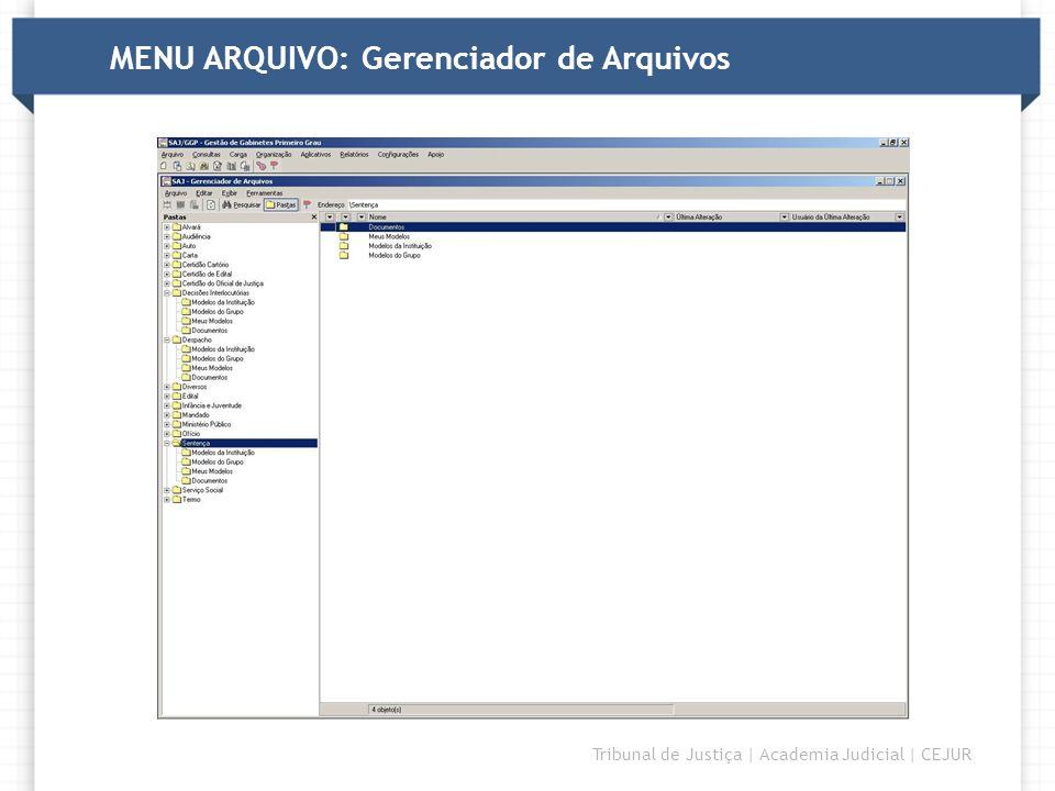 MENU ARQUIVO: Gerenciador de Arquivos