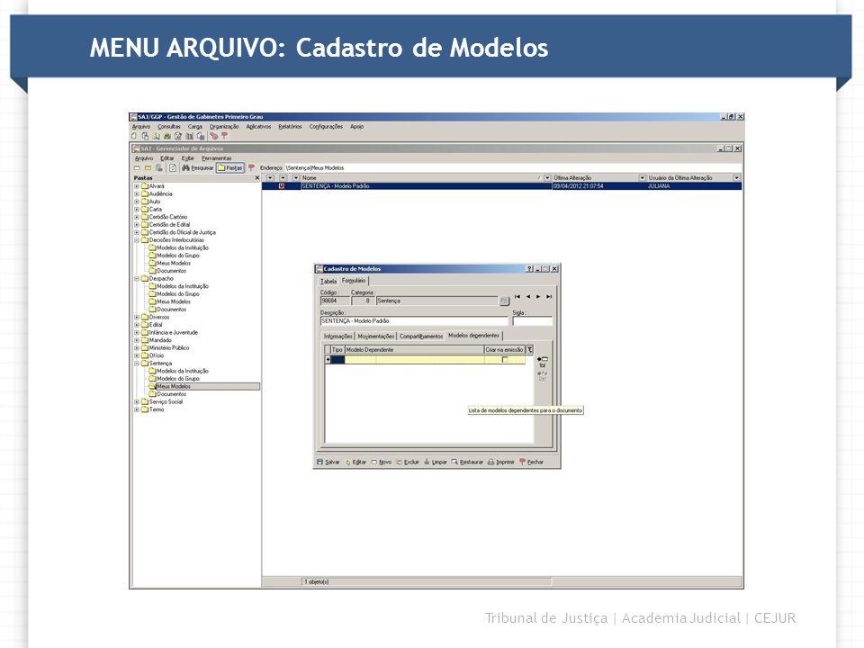 MENU ARQUIVO: Cadastro de Modelos