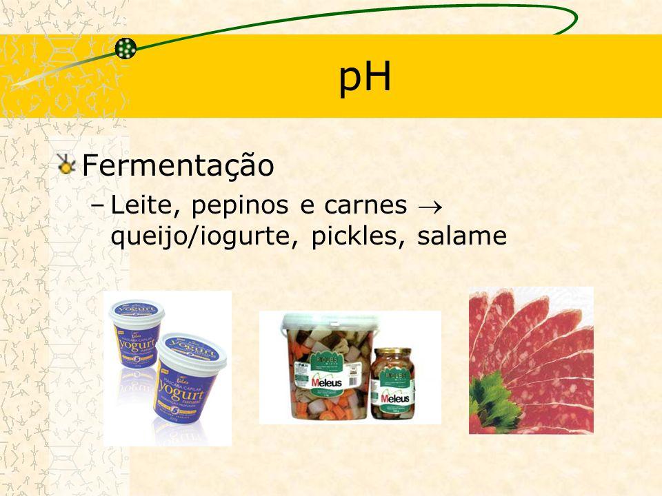 pH Fermentação Leite, pepinos e carnes  queijo/iogurte, pickles, salame