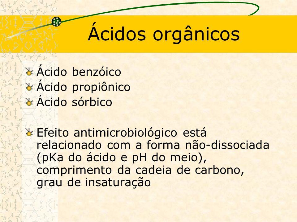 Ácidos orgânicos Ácido benzóico Ácido propiônico Ácido sórbico