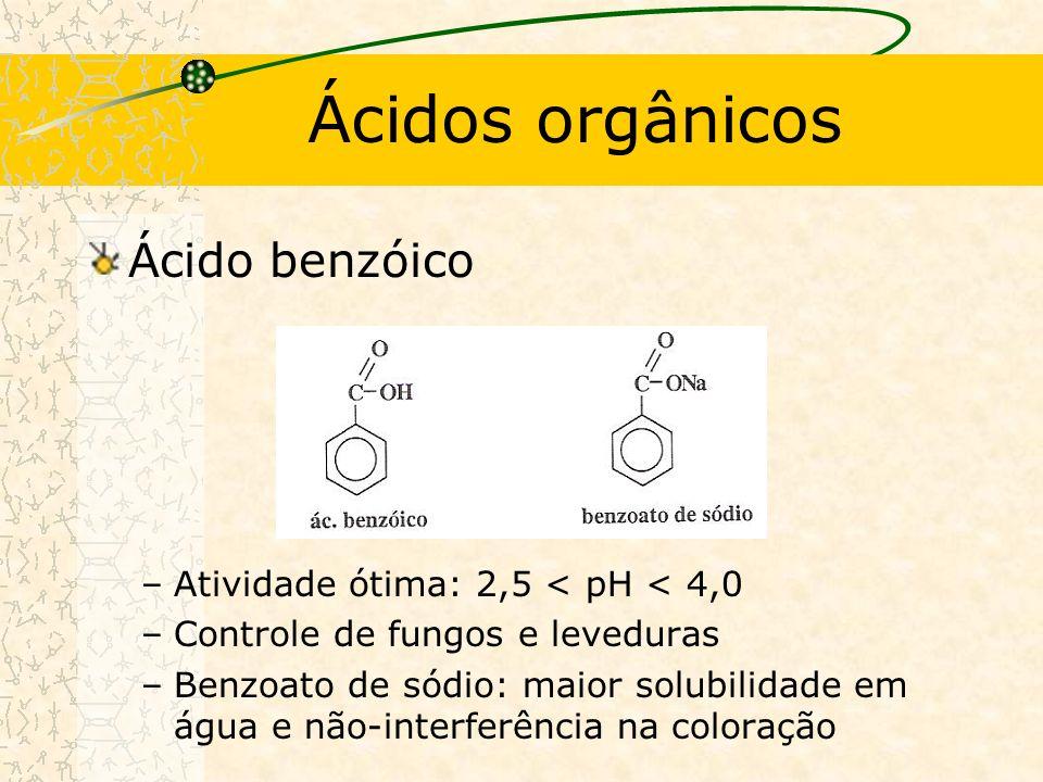 Ácidos orgânicos Ácido benzóico Atividade ótima: 2,5 < pH < 4,0