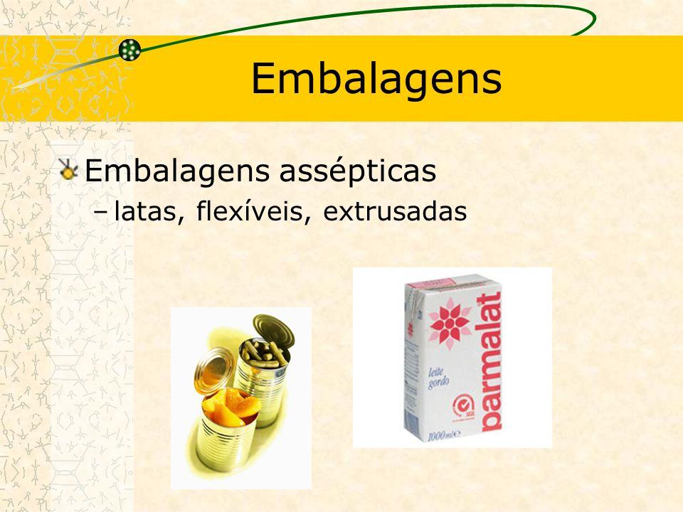 Embalagens Embalagens assépticas latas, flexíveis, extrusadas