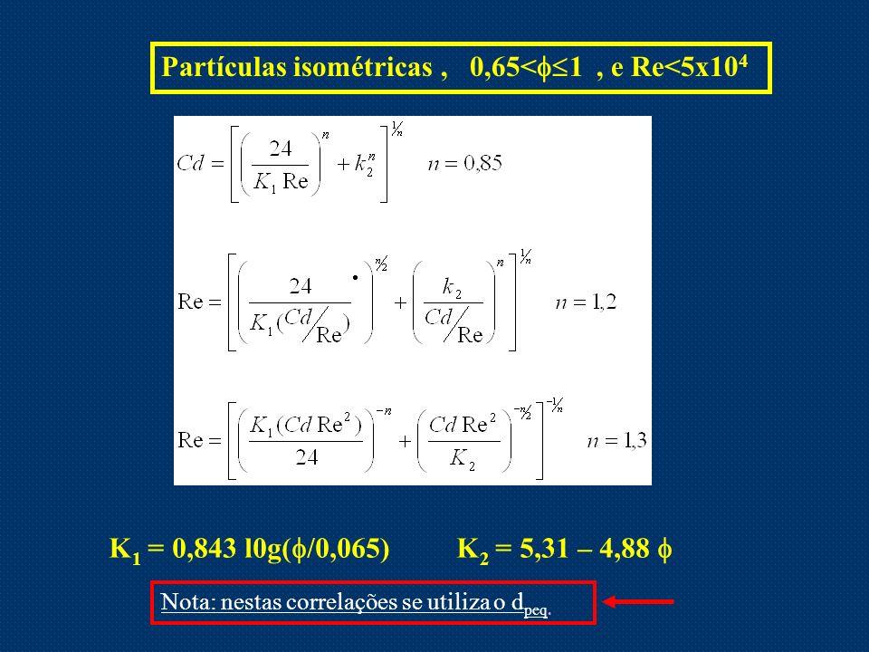 Partículas isométricas , 0,65<1 , e Re<5x104